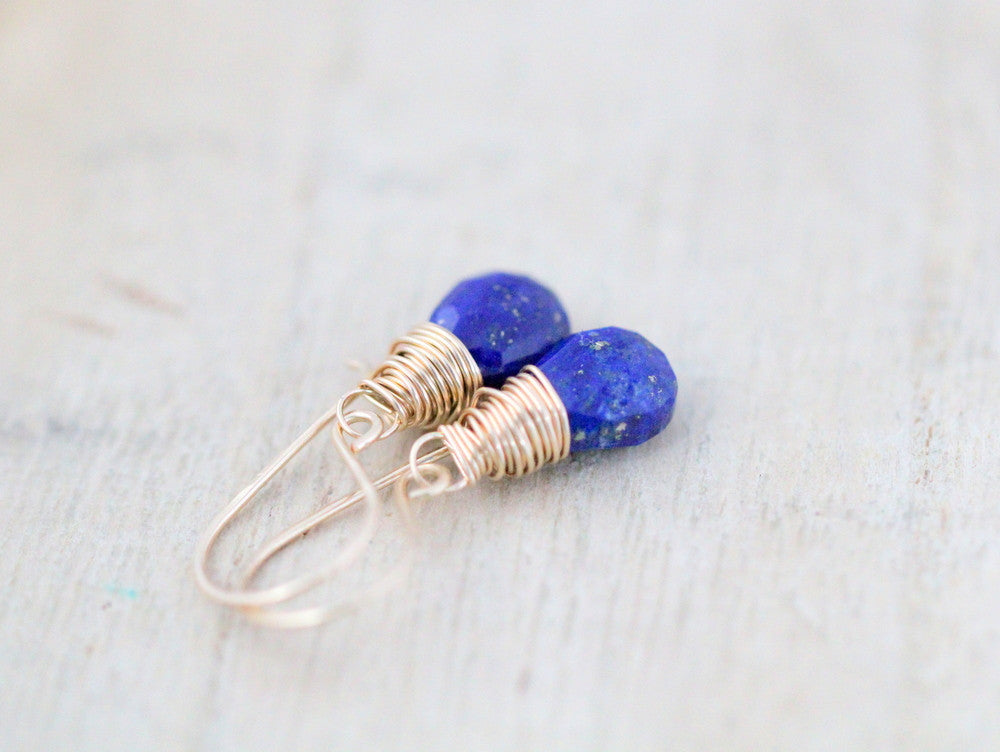 Lapis Lazuli Earrings In Gold