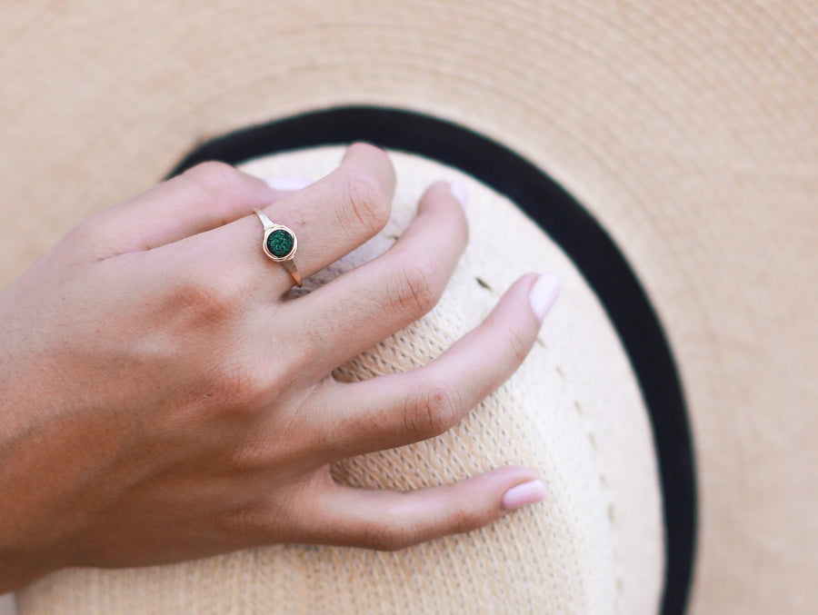 Micro Druzy Ring - Emerald City