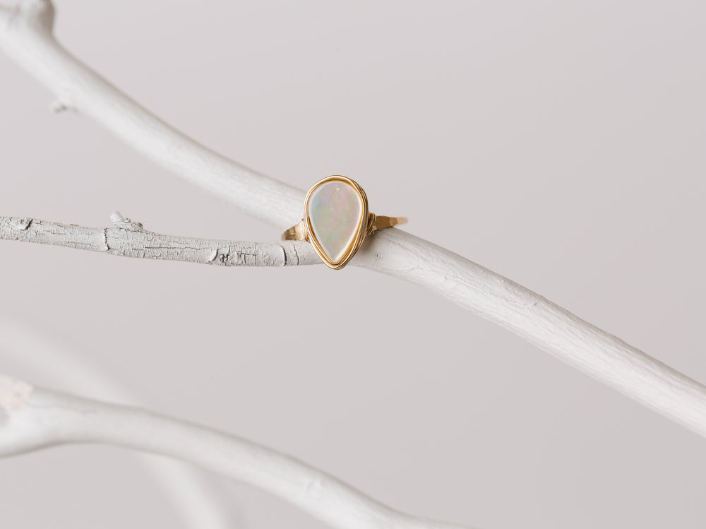 Mother of Pearl Teardrop Ring