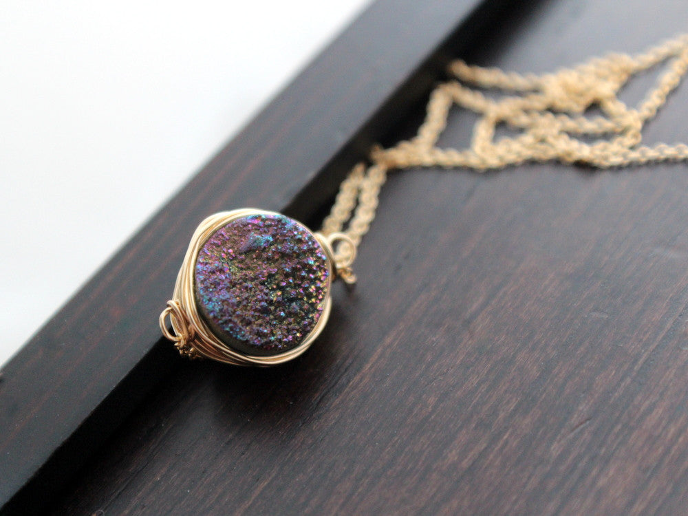 Druzy Necklace, Bezel Wrapped (Multiple Colors)