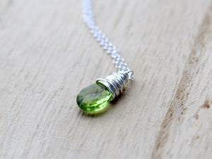 Peridot Necklace In Sterling Silver