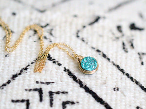 Petite Druzy Bezel Pendant Necklace - Teal