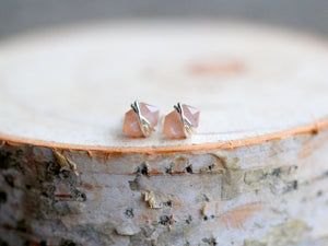 Pike Studs - Peach Moonstone