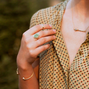 Druzy Bar Necklace - Clementine