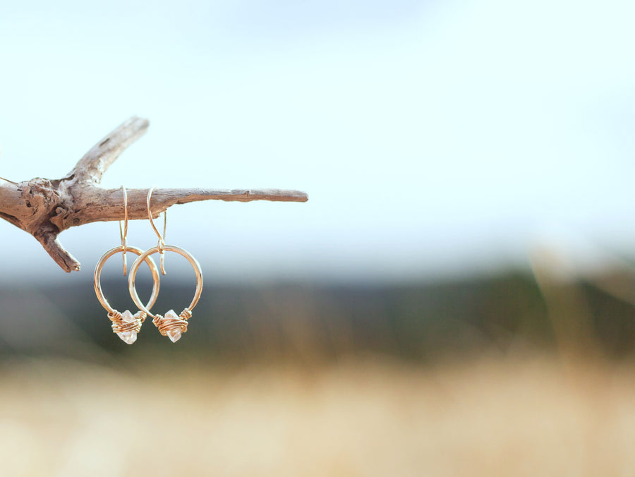 Herkimer Diamond Hoops  - As Seen On The Small Things Blog