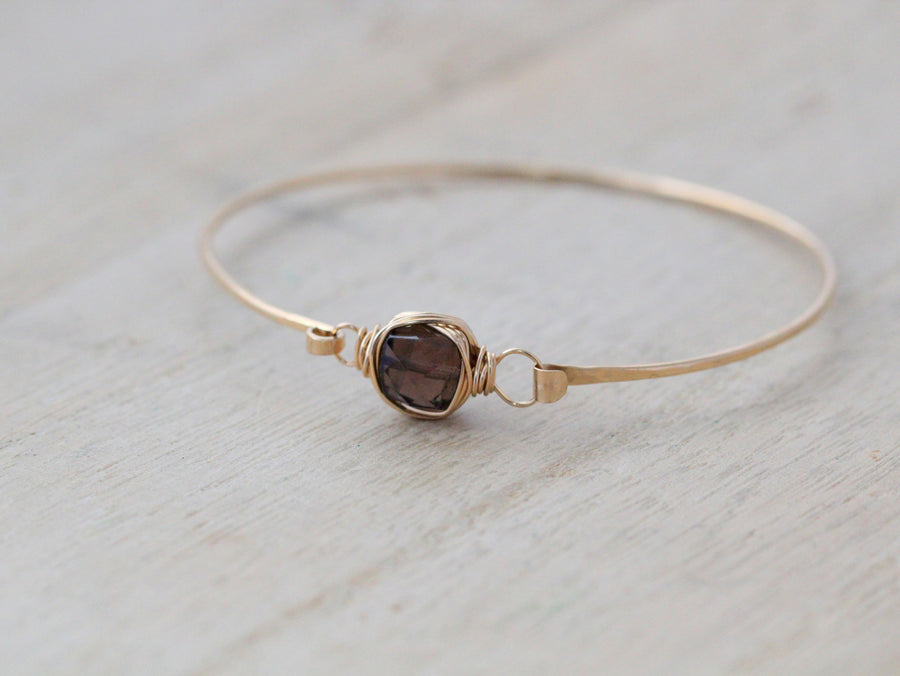 Smoky Quartz  Bezel Wrapped Bangle