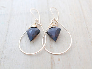 Arrow Hoop Earrings - Smoky Quartz