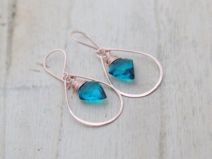 Arrow Hoop Earrings - Teal Quartz