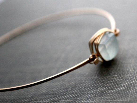 Aquamarine Bezel Wrapped Bangle