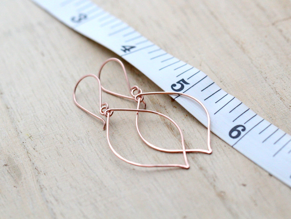 Rose Gold Leaf Hoops