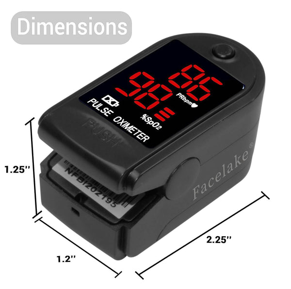 FL400 Pulse Oximeter with Neck/Wrist Cord, Carrying Case and Batteries, Black