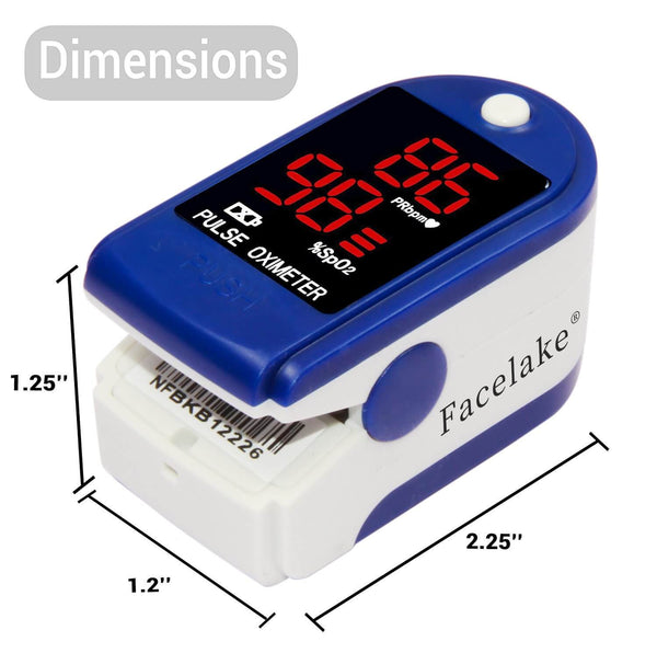 FL400 Pulse Oximeter with Lanyard, Carrying Case and Batteries, Blue