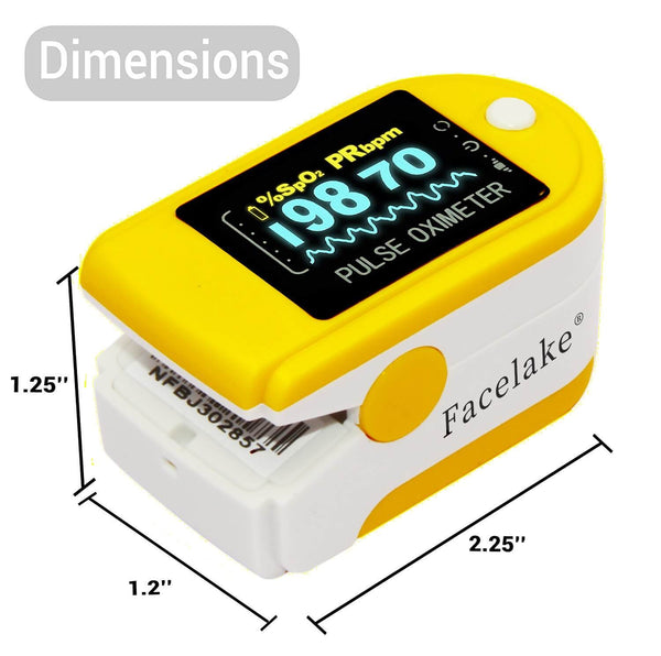FL350 Pulse Oximeter, with Carrying Case & Batteries, lanyard, Yellow