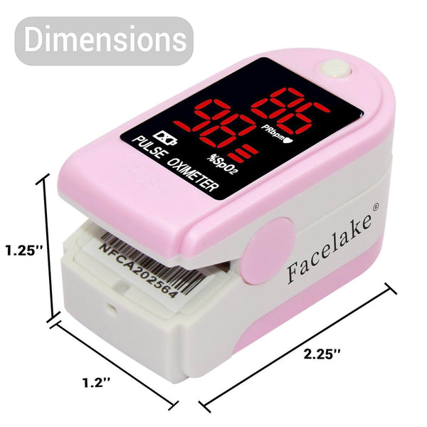 FL400 Pulse Oximeter with Carrying Case, Batteries, Neck/Wrist Cord, Pink