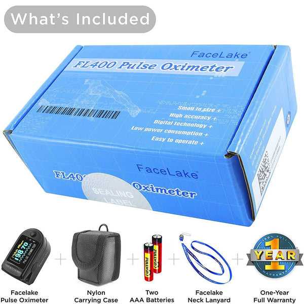 FL350 Pulse Oximeter, with Carrying Case & Batteries, Black