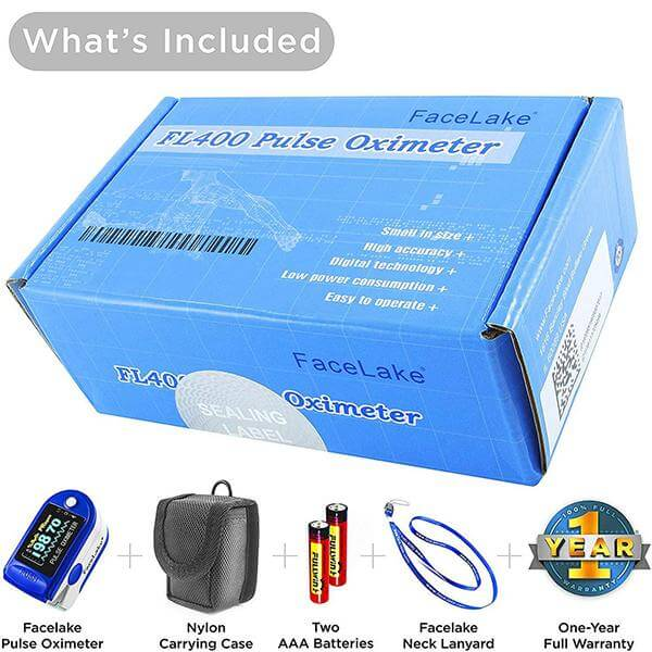 FL350 Pulse Oximeter with Lanyard , Carrying Case & Batteries, Blue