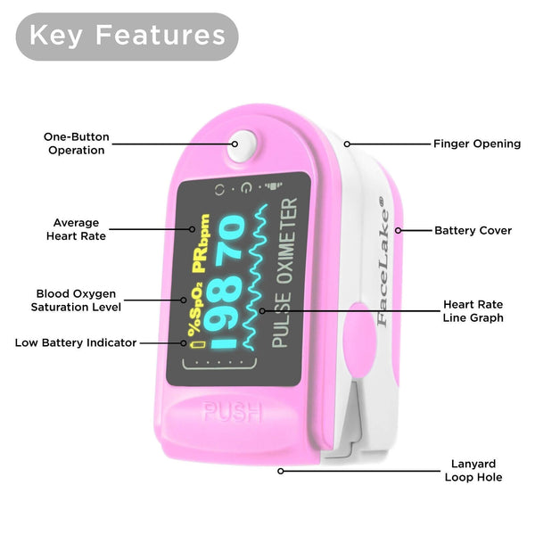 FL350 Pulse Oximeter, with Carrying Case & Batteries, Lanyard, Pink