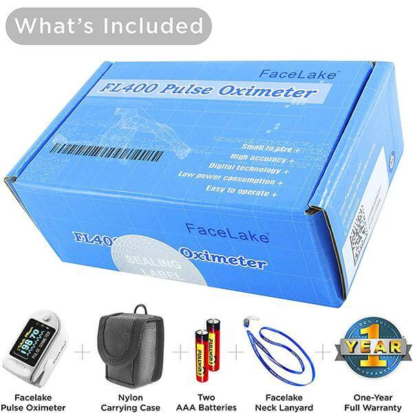 FL400 Pulse Oximeter with Carrying Case, Batteries, Lanyard, White