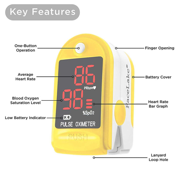 FL400 Pulse Oximeter with Neck/wrist Cord, Carrying Case and Batteries, Yellow