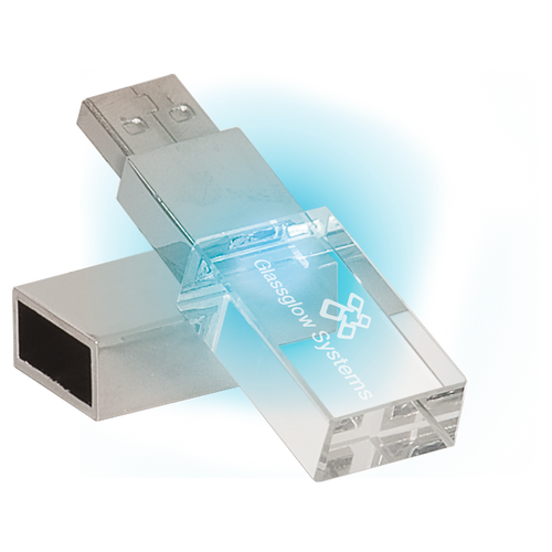 8GB Glass USB Flash Drive with White LED Light & Presentation Box