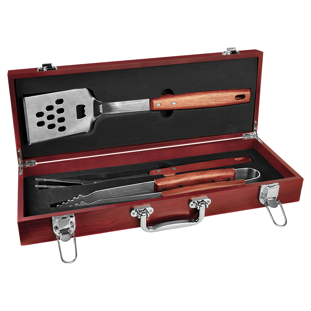 Rosewood Finish BBQ Set with Stainless Steel & Rosewood Tools