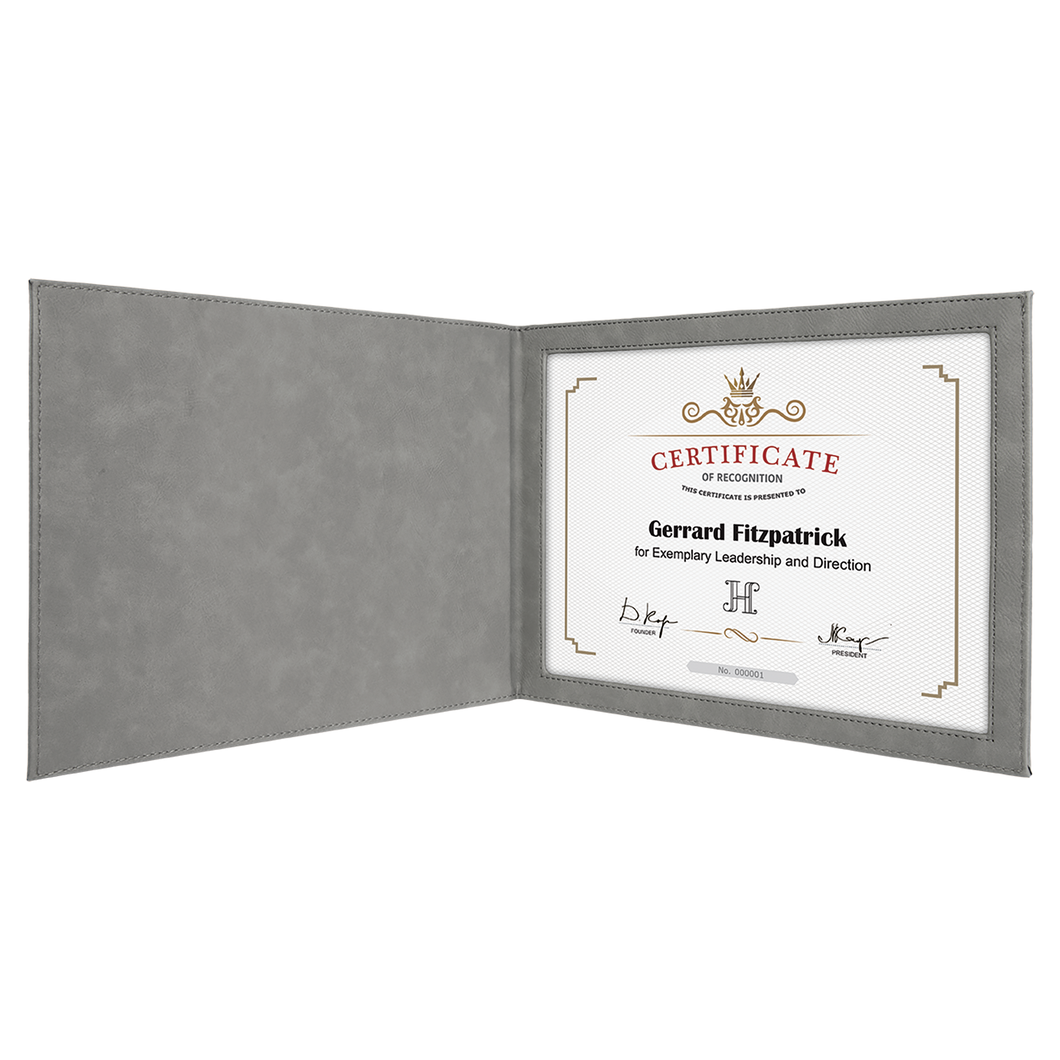 Gray Leatherette Certificate Holder for 8 1/2