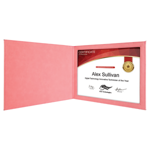 "Pink Leatherette Certificate Holder for 8 1/2"" x 11"" Certificate"