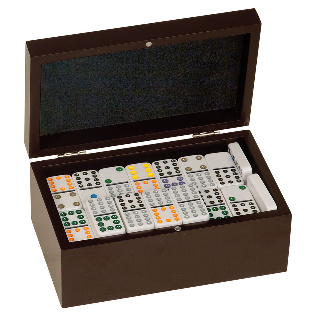 Rosewood Finish Dominos Set with 92 Dominos