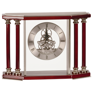 Exective 4-Pillar Silver & Rosewood Piano Finish Clock