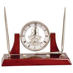 Executive Silver & Rosewood Piano Finish Clock with 2 Pens & Letter Opener