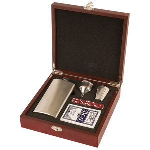Rosewood Finish Flask Set with 7 oz. Flask, Shot Glass, Cards & 5 Dice