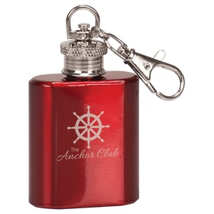 1 oz. Gloss Red Stainless Steel Flask Keychain