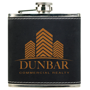 6 oz. Light Black & Gold Textured Stainless Steel Flask