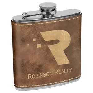 6 oz. Rustic & Gold Leatherette Flask