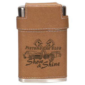 7 oz. Leather Wrapped Flask Kit with Lid & 3 Shot Glasses