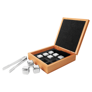 Bamboo Whiskey Stone Set with 9 Stainless Steel Whiskey Stones