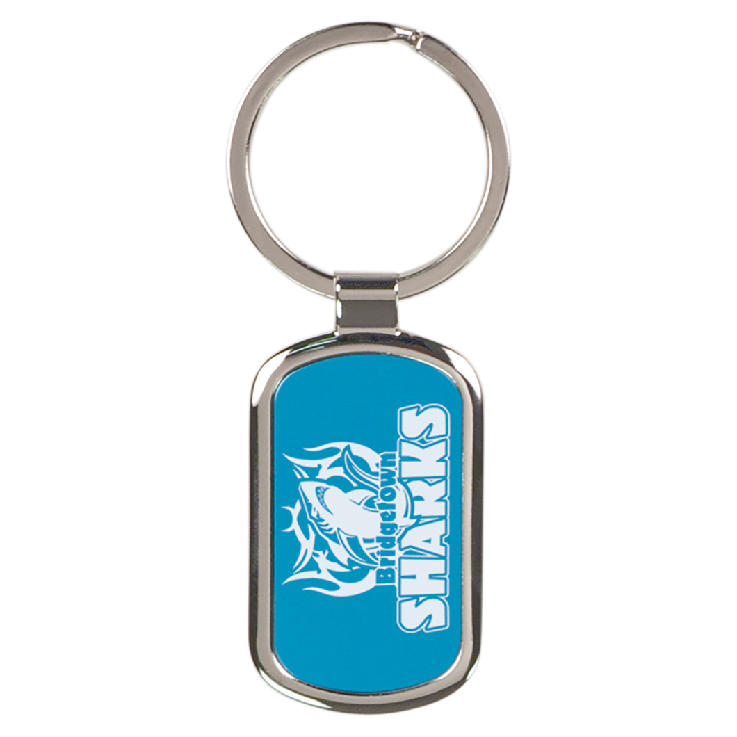 Blue Rectangle Metal Keychain