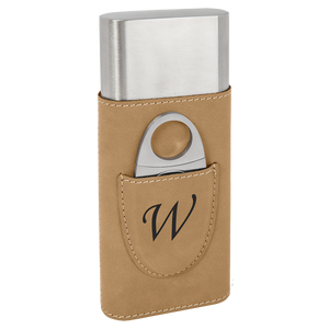 Light Brown Leatherette Wrapped Stainless Steel Cigar Case with Cutter