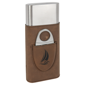 Dark Brown Leatherette Wrapped Stainless Steel Cigar Case with Cutter