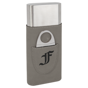 Gray Leatherette Wrapped Stainless Steel Cigar Case with Cutter