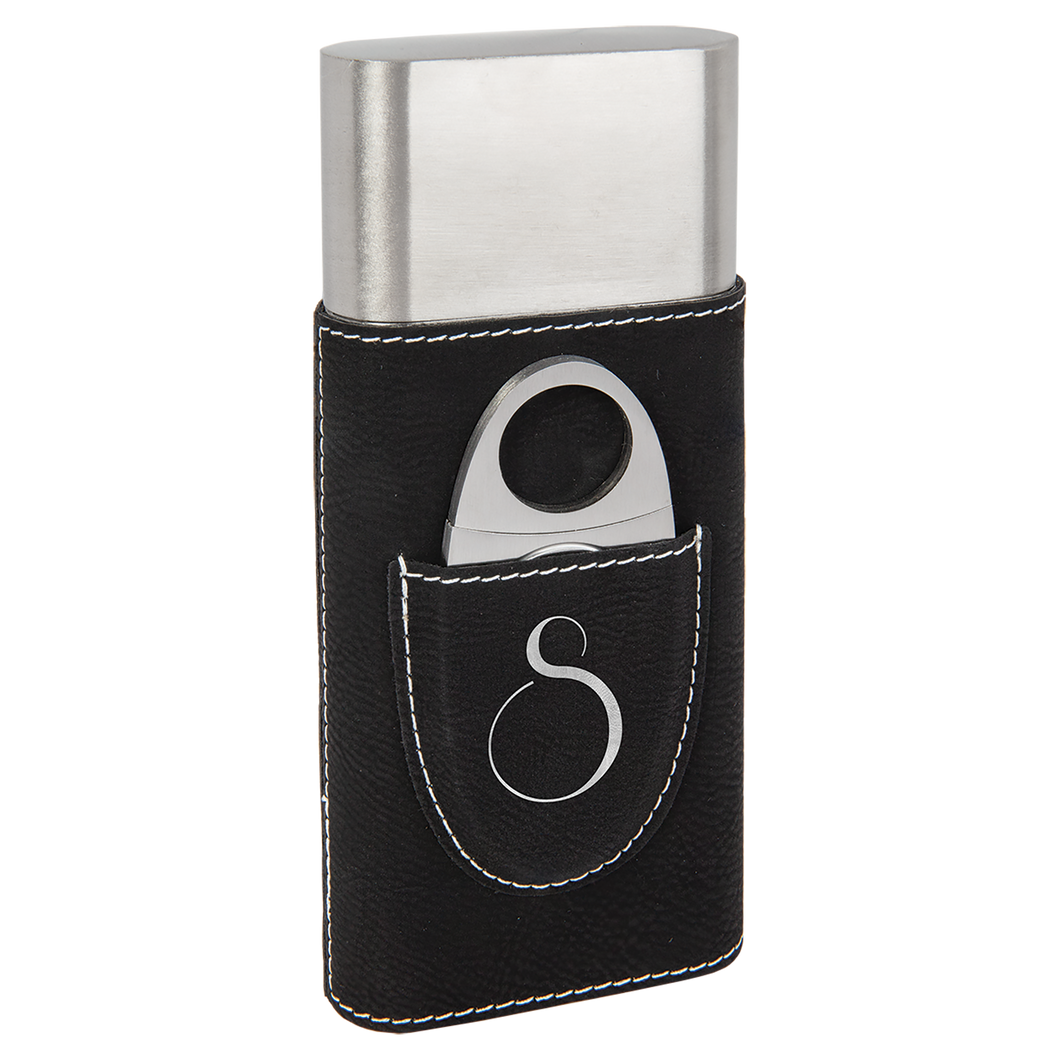 Black & Silver Leatherette Wrapped Stainless Steel Cigar Case with Cutter