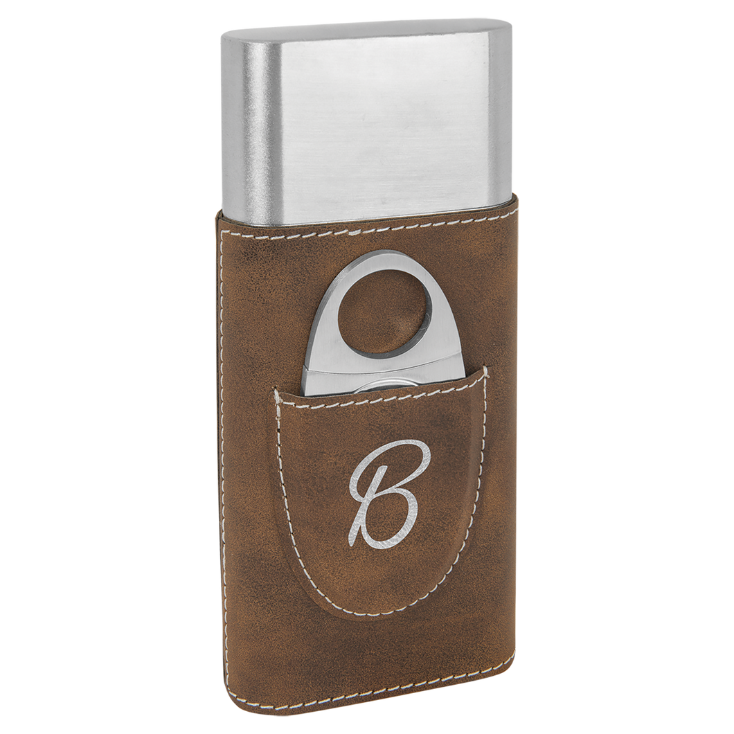 Rustic & Silver Leatherette Wrapped Stainless Steel Cigar Case with Cutter