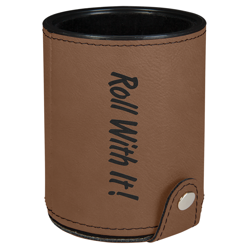 Dark Brown Leatherette Dice Cup with 5 Dice