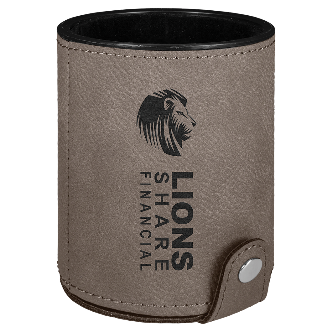 Gray Leatherette Dice Cup with 5 Dice