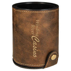 Rustic & Gold Leatherette Dice Cup with 5 Dice