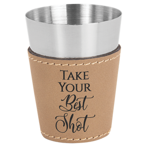 2 oz. Light Brown Leatherette Wrapped Stainless Steel Shot Glass