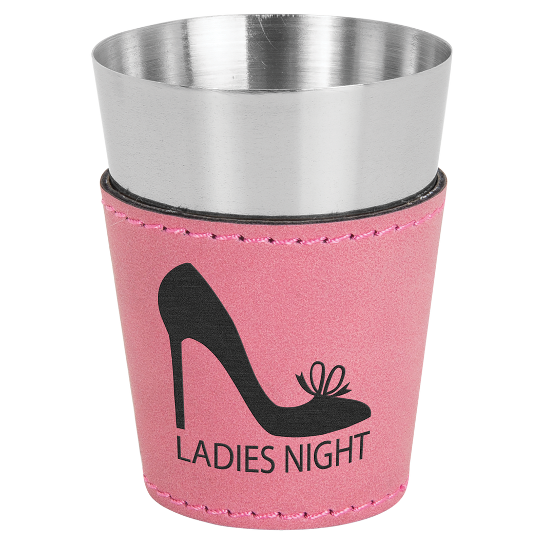 2 oz. Pink Leatherette Wrapped Stainless Steel Shot Glass