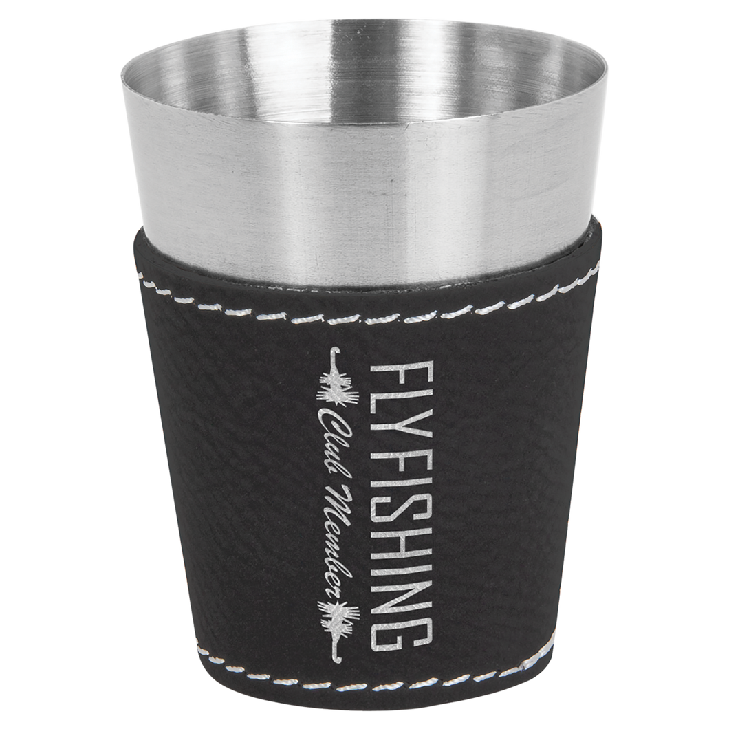 2 oz. Black & Silver Leatherette Wrapped Stainless Steel Shot Glass