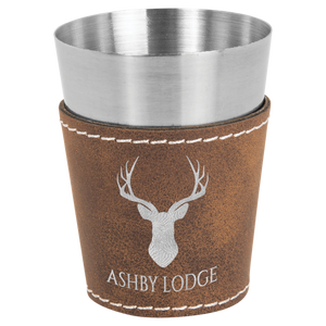 2 oz. Rustic & Silver Leatherette Wrapped Stainless Steel Shot Glass