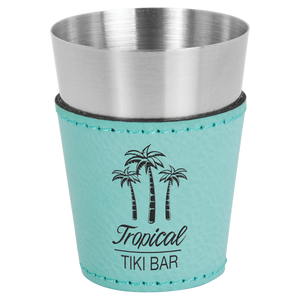 2 oz. Teal Leatherette Wrapped Stainless Steel Shot Glass